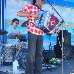 Accordion player & band leader Theo Bellow & Drummer Pat Kingland, Theo & Zydeco Patrol, Photo by Edward A. Sanchez