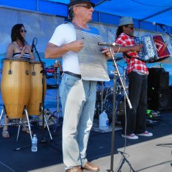 Washboard player Jim Castalano with Mannette Moreora (congas) & Theo Below (accordion), Theo & Zydeco Patrol